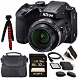 "Nikon COOLPIX B500 Digital Camera (Black) 26506 + Sony 32GB UHS-I SDHC Memory Card (Class 10) + Flexible 12"" Tripod + Small Soft Carrying Case + HDMI Cable + Card Reader + Memory Card Wallet Bundle"