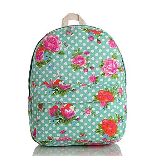 OUFLY Deep Blue & Plum Flower Vintage bedruckte Blumensegeltuch Rucksack Schule Laptop Tasche Outdoor Knapsack Tasche für Frauen Mädchen Jugend Grün