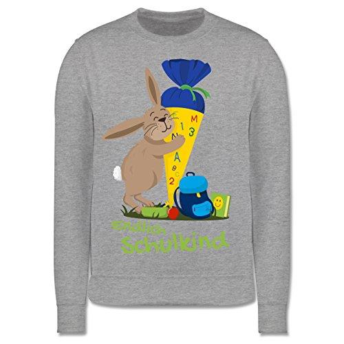 Shirtracer Einschulung und Schulanfang - Einschulung Hase - 7-8 Jahre (128) - Grau meliert - JH030K - Kinder Pullover - Wrap-kinder Pullover