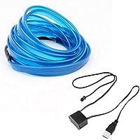 Footprintse LED EL Light Neon Rope Car Party Dance Dancing Light Strip + 3V / 12V USB Drive (Color: azul) (Tamaño: 3M)