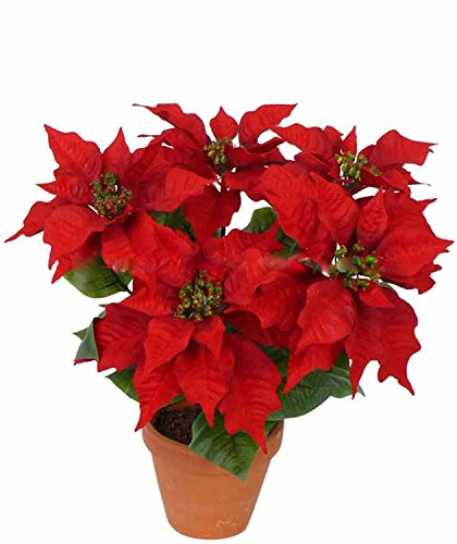Artplants set 2 x stella di natale decorativa suniva su stelo, 5 fiori, rosso, 45 cm, Ø 40 cm - 2 pezzi di pianta artificiale/poinsettia finta