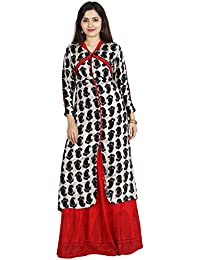 INDIJOY Women's Cotton Front Slit Printed Kurti With Printed Skirt- Black & Red
