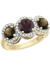 Revoni 9ct Gelb oder Weiß Gold Granat & Smoky Topaz Seiten rund Ehering Ring Diamant Akzente, Größe R