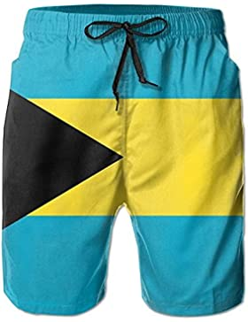 Funny Caps Bahamas Flag Men's/Boys Casual Quick-Drying Bath Suits Elastic Waist Beach Pants with Pockets