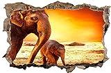 DesFoli Elefanten Afrika Natur 3D-Optik Wandtattoo 70 x 105 cm Wandbild Sticker Aufkleber D113