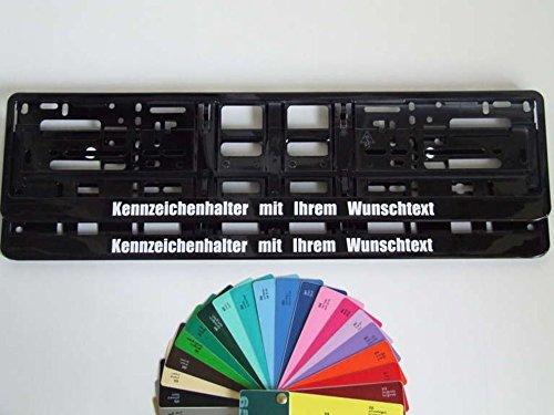 2 Stück Kennzeichenhalter Schwarz mit Wunschtext Beschriftung Werbung BEDRUCKT