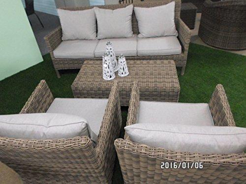 Lesli Living Lounge Flamingo polyrotin qualité 4teilig Banc 2 Fauteuil Table 68/108/188 cm