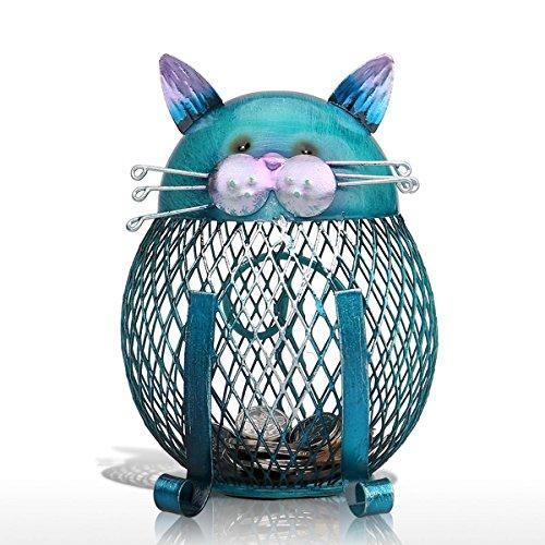 Hucha Forma de Gato Metálico de Monedas para la Decoración del Hogar