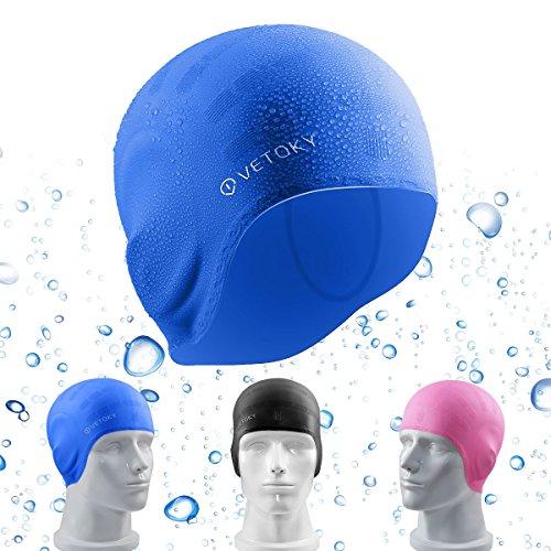 der-Damen-Herren-Groß-Blau mit Ohrenschutz Bademütze Lange Haare Silikon Erwachsene Jungen Wasserdichte Schwimmen Junior Latex Gummi Männer Frauen Uv Jungs Mädchen Schwimmkappe (Latex Für Erwachsene)