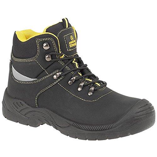 Amblers Steel FS213 Mens Split Leather Upper Safety Work Boots Black Black