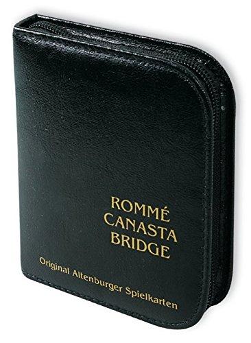 ASS 22570064 Rommé Kartenspiel 2 x 55 Karten im Format 59 x 91 mm + Bleistift + Block + Regelheft, im edlen Kunstleder-Etui auch für Canasta und Bridge geeignet (Bridge-bücher-kartenspiel)
