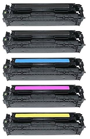 Pack 5 INK INSPIRATION® Compatibles Toner Laser pour HP LaserJet Pro 200 Color M251n, M251nw, MFP M276n, MFP M276nw, Canon LBP-7100CN, LBP-7110CW, MF-8230CN, MF-8280CW | Remplacement pour HP 131X 131A (CF210X, CF211A, CF212A, CF213A) | Noir: 2400 Pages & Cyan/Magenta/Jaune: 1800 Pages