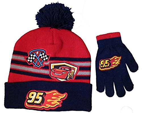 Disney Boys' Cars Lightning McQueen Beanie Hat and Mitten Set - Size 4-7 [4014] image