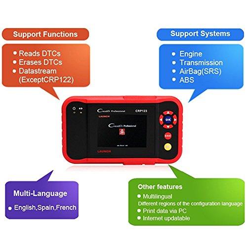 Launch Diagnosegerät Kfz Pkw Auto OBDII Werkzeugediagnose ür ABS SRS Getriebe und Maschine OBD2 OBDII/EOBD Code Scanner Tool, X431 CRP123