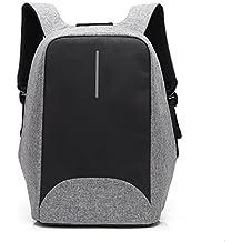 Mochila antirrobo, para ordenador portátil, estilo ejecutivo, con puerto de carga USB, impermeable, para ir de viaje, al colegio, etc., con compartimento oculto, para hombre y mujer, gris