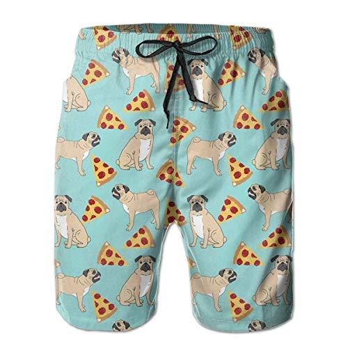 yting Lustiger Vektor verfolgt Mops-Welpen-Muster-Pizza Herren Badehose Quick Dry Badeanzug Sommerurlaub Strand Shorts mit Taschen,Größe XL