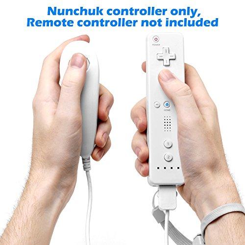 AFUNTA Nunchuck Contrôleurs pour Nintendo Wii U, Lot de 2 Manettes Remplacement pour WII U Jeu Vidéo - Blanc