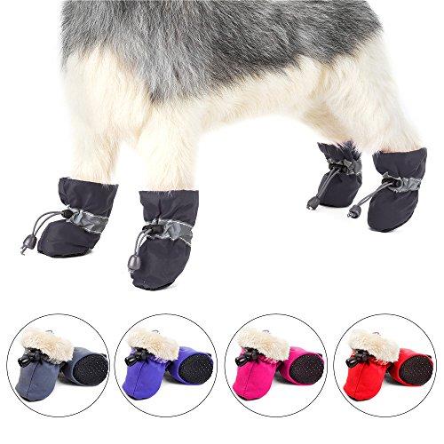 REXSONN Hund 4Stkreflektierende Stiefel für Kleine bis mittlere Hunde 1-50 lbs im Haus, für jedes Wetter weiche antirutsch Haustier Schuhe (schwarz, XS) -