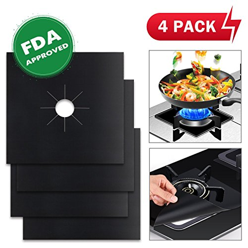 "4-Pack G-Hawk® Reusable Gas Stove Burner Covers, Non-stick Stovetop Burner Liners Gas Range Protectors for Kitchen- FDA Approved ,Double Thickness, Cuttable, Dishwasher Safe, Easy to Clean 10.6"" x 10.6"""