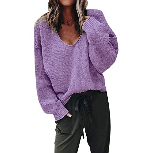 Subfamily Damenbekleidung Pullover Damen Winter Damenmode Herbst Tiefem V Ausschnitt Langarm Solid Color Bluse Plus Frauen Multicolor Strickpullover Cardigan Langshirt (Lila, ()
