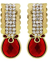 BIG Tree Traditional Golden And Red Diamond Wedding Drop Earring For Girls And Women