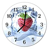 DekoGlas Glasuhr 'EIS Erdbeere blau' Uhr aus Acrylglas, rund große Motiv Wanduhr Ø30 cm, lautlos für Wohnzimmer & Küche