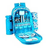 Confidence Picnic Backpack Hamper Bright Blue Polkadots Inc Plates, Cutlery