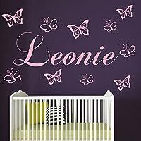 Wandtattoo Kinderzimmer personalisiert Wunsch Namen mit 10 Schmetterlingen Jungen.Mädchen Wandaufkleber Baby Anfertigung 21 Farben Auswahl