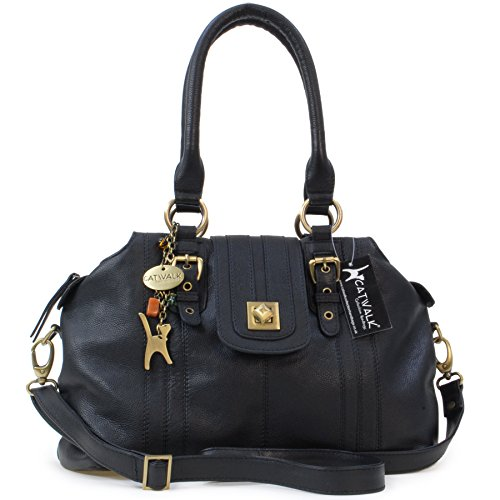 "Borsa in pelle a spalla con chiusura a scatto di Catwalk Collection ""Kate"" - Nero"