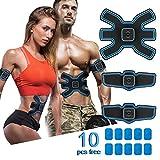Lovebay Ceinture Abdominale Electrostimulation Muscler Homme Femme, Chargé par USB Version Améliorée EMS Stimulateur Musculaire avec 10 Coussinets de Gel