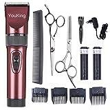 YouKing Hair Clippers, Low Noise Cordless Kinder Grooming Clippers und Haarschneider für Männer und Baby, 2 wiederaufladbare Batterien, 4 Kämme (rot)