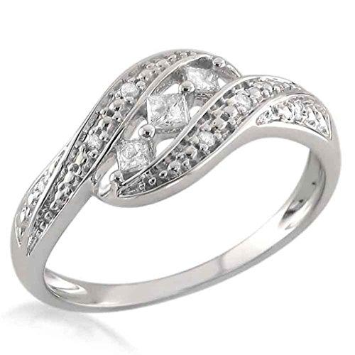 1/6CT PRINCESS-CUT Zirconia cúbico 14K oro blanco acabado plata de ley tres piedra anillo de Bypass