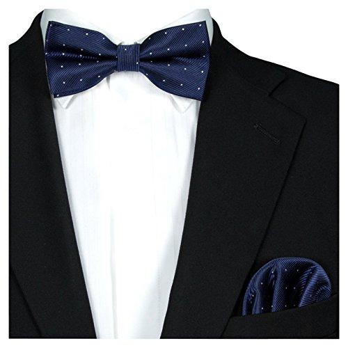 GASSANI 2Tlg Fliegenset, Festliche Dunkel-Blaue Herren-Fliege Silber Gepunktet, Hochzeitsfliege Anzug-Schleife Vor-Gebunden Ein-Stecktuch Vorgefaltet