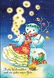 Weihnachtskarte Nina Chen * Engel mit Schneemann * Glitzer