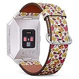 Compatibile con FITBIT IONIC - Cinturino di Ricambio con Chiusura in Acciaio Inox e Adattatori ( Autumn Decorative Colorful )