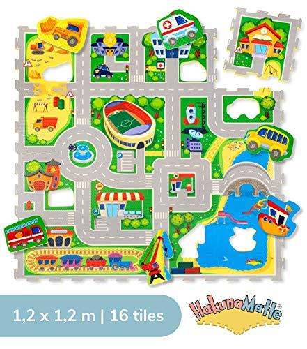 City Puzzlematte für Kinder 1,2x1,2m | 16 Schaumstoffplatten mit Straßen und Fahrzeuge in einer Aufbewahrungstasche | +20{e671d23650ecfe4686f8a0f803a542fda15af786914395d5b8a1bc47e499ef05} dickere, wärmere Spielmatte | Schadstofffrei, Geruchlos, TÜV Formamid geprüft