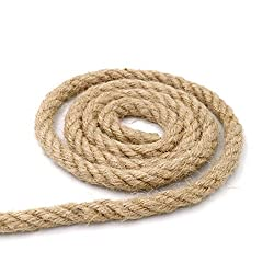 jijAcraft Hemp Rope,10mm Thick Rope Strong Natural Rope,4-Ply Jute Rope for Craft Rope/Cat Scratching Rope/Garden Bundling(10 M/32 Feet)
