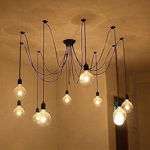 Lixada Kronleuchter Pendelleuchten 9 Lichter Hängende Lampen Deckenbeleuchtung (9