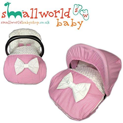 personalisierbar Pink Gingham und Fell Baby Autositz Fußsack mit Kapuze