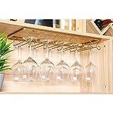 Tosbess Portabicchieri/Porta calici - Supporto con 5 binari per 10-15 Bicchiere di Vino - Mantieni I Bicchieri asciutti - a Sospensione o a Parete, Cromato,50 x 22,5 x 5,5cm