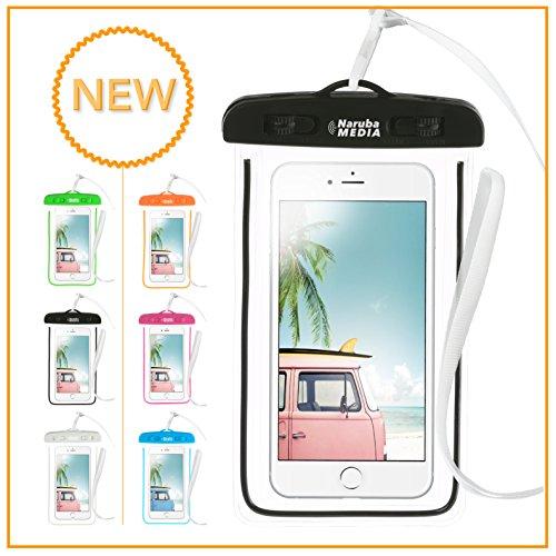 Naruba Media Waterproof | wasserdichte Handyhülle für alle Smartphones bis zu 6 Zoll |19,5 x 11,5 x 1,2 cm| inklusive Gurt und Schnellverschluss (SchwarzRand)