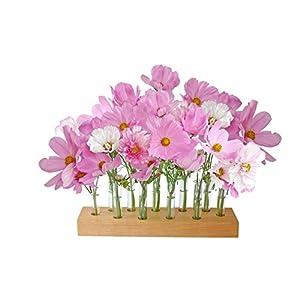 Blumenvase aus Holz und Glas, Reagenzglasvase, Vase, Holzvase
