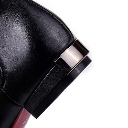 AgooLar Damen Spitz Zehe Niedriger Absatz Weiches Material Rein Stiefel mit Rivet Set Schwarz