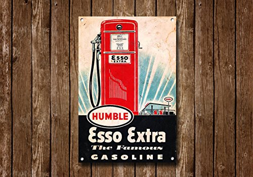 Esso Extra Benzin Metall Schild Cars Gas Automotive Decor Vintage Wandbehänge Classic Automarke Schild Garage Decor Retro Öl 20,3x 30,5cm Zoll -