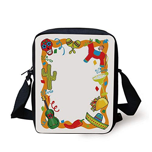 Fiesta,Cartoon Drawing Style Mexican Pinata Taco Chili Pepper Sugar Skull Pattern Guitar,Multicolor Print Kids Crossbody Messenger Bag Purse