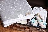 KraftKids Reisewickelunterlage weiße Anker auf Grau wasserundurchlässig