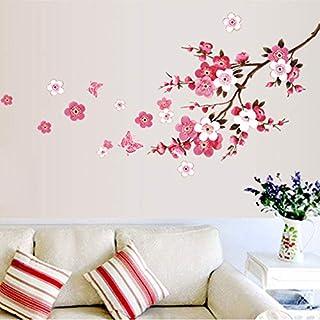 QWERGLL Wandaufkleber Kirschblüte Blume Wandaufkleber Wasserdicht Wohnzimmer Schlafzimmer Wandtattoos Dekore Wandbilder Poster