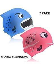 KEKU Gorro de natación para niños (2 unidades, tiburón y pez pequeño, silicona