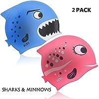 KEKU Gorro de natación para niños (2 unidades, tiburón y pez pequeño, silicona, apto para niños y niñas de 3 a 12 años)