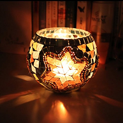 Glass Ball Lights Lamp, Essort Mosaic Lamp Color Glass Light Ball Candle Lampshade LED Candleholder Waterproof Color Changing Table Lamps For Wedding Decorations, Gifts, Garden, Festival Decorations snow gold